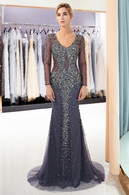 MAUREEN | Mermaid V-neck Long Sleeves Sparkly Beading Evening Dresses_1
