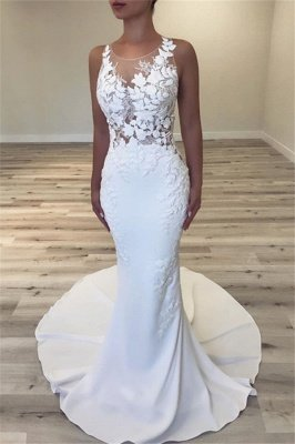 Sleeveless Sheer Tulle Cheap Wedding Dresses | Mermaid Sexy Dresses for Weddings