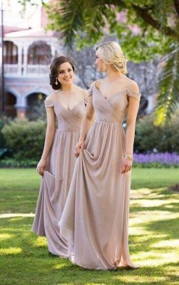 Sexy Brown Off-the-shoulder Chiffon Long Bridesmaid Dresses_2