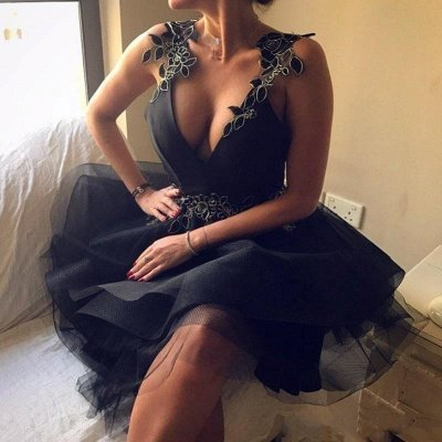 sexy escote en v sin espalda apliques sin espalda una línea de vestido de regreso a casa corto SK0002_5