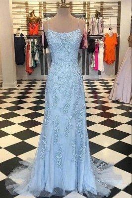Elegant Sky Blue Spaghetti Strap Lace Applique Simple Long Prom Dress_2