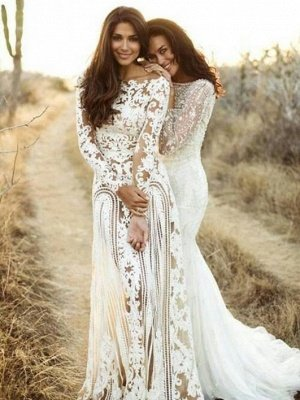 Sheath Bateau Long Sleeves Open Back Lace Wedding Dress