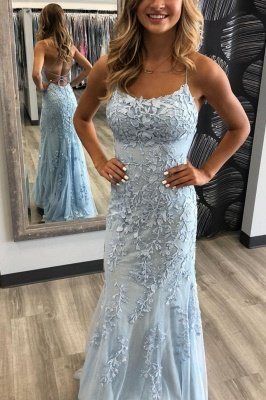 Elegant Sky Blue Spaghetti Strap Lace Applique Simple Long Prom Dress