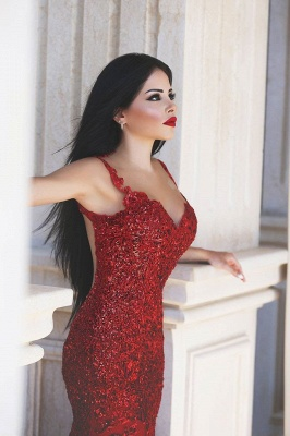 Ruby Hottest Crystal Trumpet Evening Dress Vintage Spaghetti Strap Tulle Long Formal Occasion Dress_3