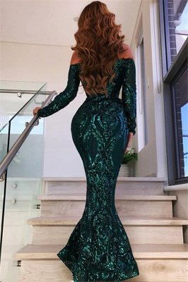 Off Shoulder Evening Dresses with Sleeves | Sexy Mermaid Sequins Prom Dresses BC0703_3