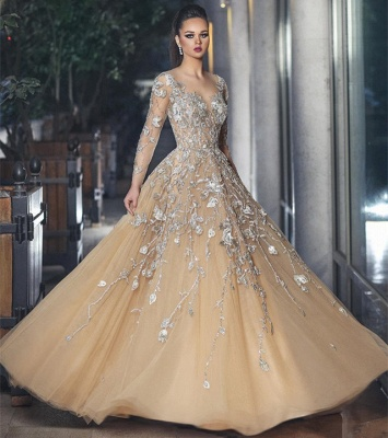 Stunning Illusion Long Sleeve Sexy Evening Gowns | A-line Lace Appliques Tulle Prom Dress_4