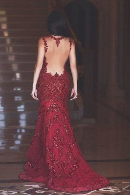 Ruby Hottest Crystal Trumpet Evening Dress Vintage Spaghetti Strap Tulle Long Formal Occasion Dress_2