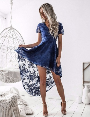 Elegant Short Sleeve Lace Homecoming Dress Hi-Lo Party Gowns_1