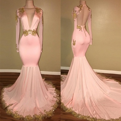 Gorgeous Long Sleeve V-Neck Prom Dress Mermaid With Gold Crystal_3
