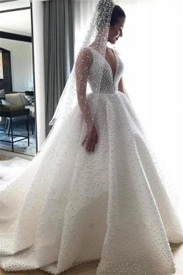 V-neck Sleeveless Beading Princess Royal Wedding Dress Online | Luxury Ball Gown Dresses for Weddings