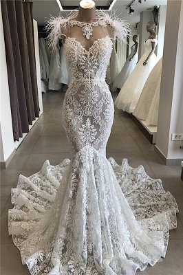 Fit and Flare Lace Crystals Necklace Wedding Dresses | Open Back Bridal Gowns with Feather