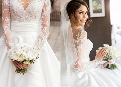 New Full Lace Split Wedding Dresses Illusion Back Bridal Gowns with Detachable Satin Skirt_4