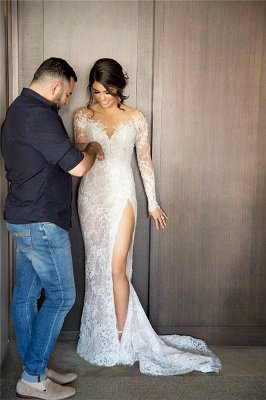 New Full Lace Split Wedding Dresses Illusion Back Bridal Gowns with Detachable Satin Skirt_1