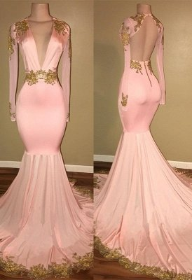 Gorgeous Long Sleeve V-Neck Prom Dress Mermaid With Gold Crystal_1