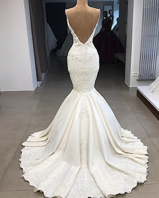 Spaghetti Straps Lace Fit and Flare Wedding Dresses Overskirt |  Appliques Detachable Satin Backless Bridal Gowns BC0776_4