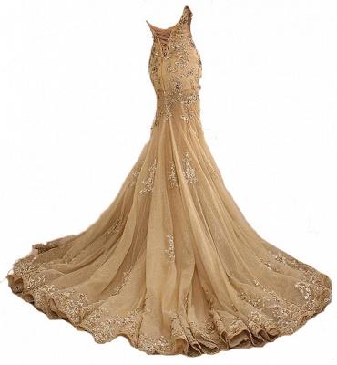Gold Spitze-Applikationen Lace-Up Schatz-Neck Meerjungfrau lange Prom Kleider_3