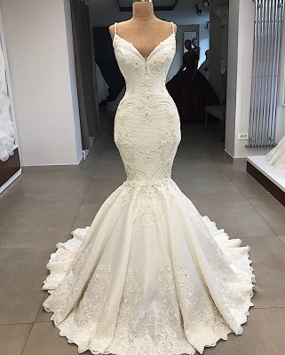 Spaghetti Straps Lace Fit and Flare Wedding Dresses Overskirt |  Appliques Detachable Satin Backless Bridal Gowns BC0776_5