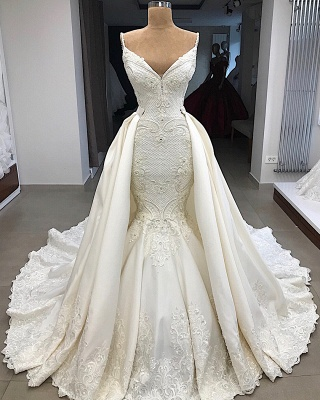 Spaghetti Straps Lace Fit and Flare Wedding Dresses Overskirt |  Appliques Detachable Satin Backless Bridal Gowns BC0776_6