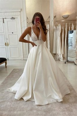 Elegant V-neck Spaghetti Sleeveless Lace A-line Bridal Gowns Floor Length Wedding Dress