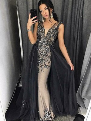 Elegant Mermaid Tulle Beading V-Neck Detachable Prom Dress | Evening Dress