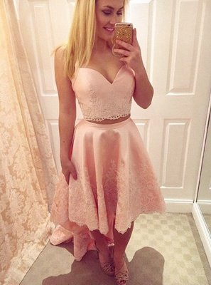 Chic Hi-Lo Pink Homecoming Dresses | Two Pieces Appliques Hoco Dresses_1