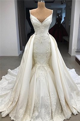 Spaghetti Straps Lace Fit and Flare Wedding Dresses Overskirt |  Appliques Detachable Satin Backless Bridal Gowns BC0776