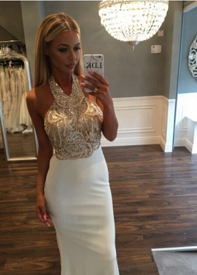 Newest Halter Mermaid Sweep-Train Sequined Sleeveless Prom Dress