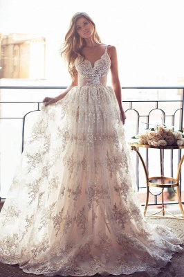 Elegant Sweetheart-Neck Lace Backless Princess Wedding Dresses | Spaghettis-Straps Bridal Gowns Online_1