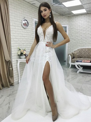 Glamorous White V-Neck Front Split Tulle Wedding Dress | 2021 Floor -Length Lace Applique Beach Bridal Dress_1