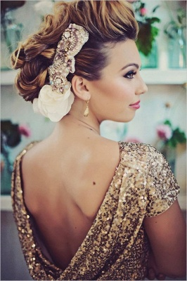 Sparkly Gold Sequins Wedding Party Dresses Floor Length Open Back Bridesmaid Dress_4