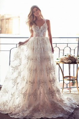 Elegant Sweetheart-Neck Lace Backless Princess Wedding Dresses | Spaghettis-Straps Bridal Gowns Online