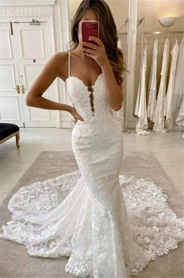Delicate Double V-Neck Spaghetti Lace Appliques Mermaid Wedding Dresses