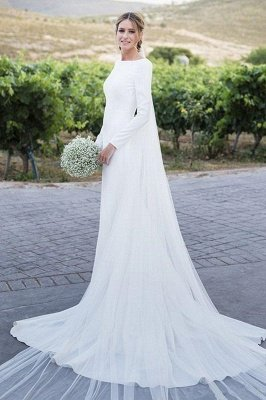 Backless Wholesale Satin Simple Wedding Dresses Cheap | Elegant Long Sleeve Sheath Elegant Bridal Gowns