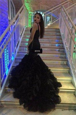 Robe de bal sexy noire sirène col V sans manches_2