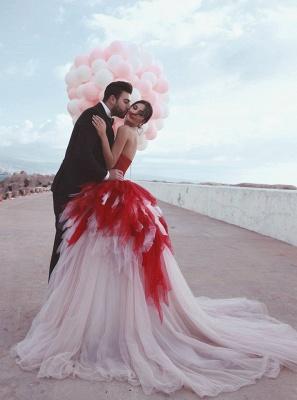 2021 cariño Puffy rojo tul vestidos de noche formales atractivos | Vestidos de fiesta sin mangas con gradas baratos en línea_3