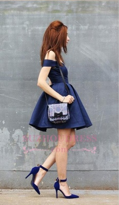 Off The Shoulder Navy Homecoming Dress Cheap | Sexy Cheap Short Hoco Dresses Online_1