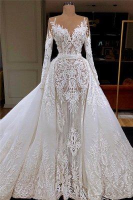 Long Sleeve Lace Wedding Dresses Online | Tulle Overskirt Cheap Dresses for Weddings