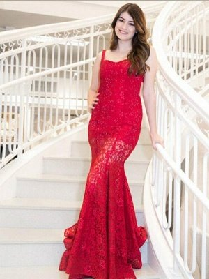 Mermaid Red Lace Straps Sequins Sweep Train Prom Dress | Evening Dress