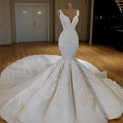 Sexy Mermaid Lace Wedding Dresses Online | Straps Luxury Bridal Gowns with Long Train_3