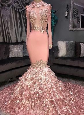 Superbe col rond fleur manches longues paillettes robes de bal sirène_1