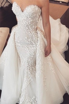Sweetheart Lace Appliques Overskirt Wedding Dresses | Tulle Chapel Train Wholesale Bridal Gowns