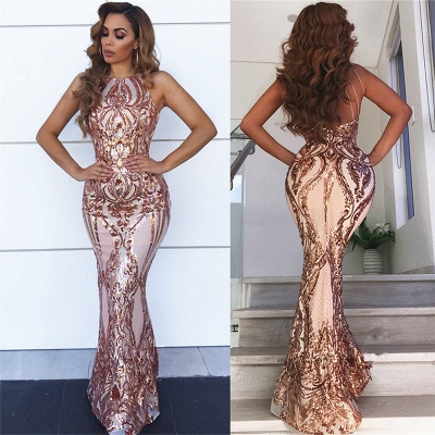 Sleeveless Appliques Sexy Sheath Prom Dresses | Mermaid Champagne Evening Dress bc0506_4