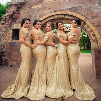 Gold Sequins Bridesmaid Dresses Off the Shoulder Sexy Mermaid Maid of the Honor Dresses BA3186_1