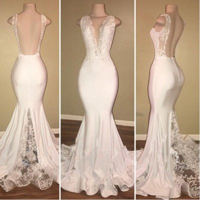 Elegant White Lace Evening Dress Mermaid Lace Backless Party Gowns BA7772_3