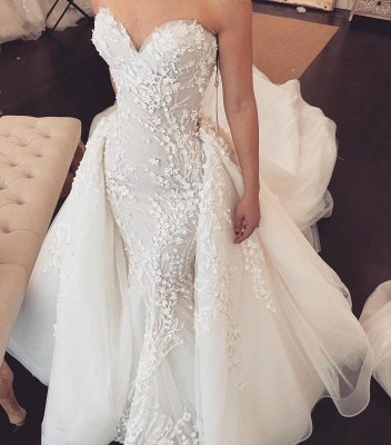 Sweetheart Lace Appliques Overskirt Wedding Dresses | Tulle Chapel Train Wholesale Bridal Gowns_3