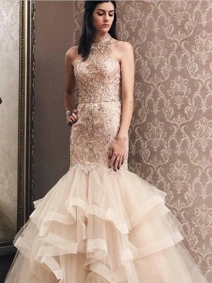 Elegant Mermaid Light Champagne Tulle High Neck Beading Prom Dress | Evening Dress