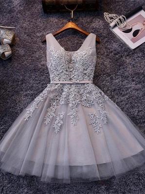 Silver Grey Lace Homecoming Dress Cheap   Sleeveless Tulle Short Hoco Dress_1