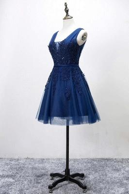 Silver Grey Lace Homecoming Dress Cheap   Sleeveless Tulle Short Hoco Dress_4