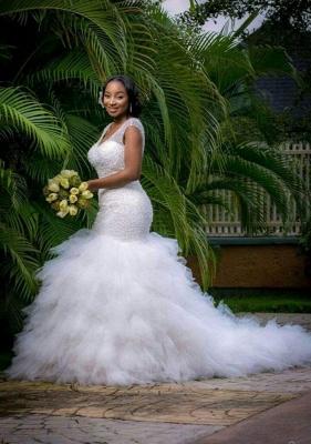 Sexy Mermaid V-neck Wedding Dresses Sleeveless Beading Court Train Bridal Gown_2