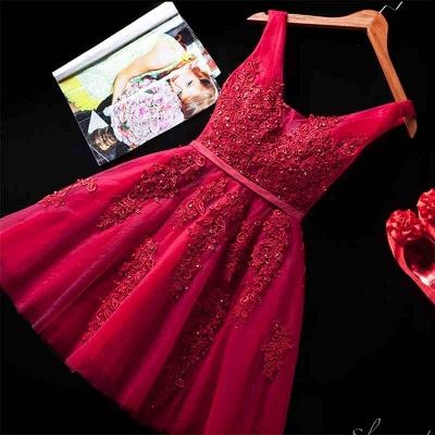 Silver Grey Lace Homecoming Dress Cheap   Sleeveless Tulle Short Hoco Dress_5